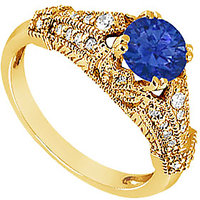 Lovebrightjewelry 14K Yellow Gold Sapphire & Diamond Engagement Ring-0.75 Ct