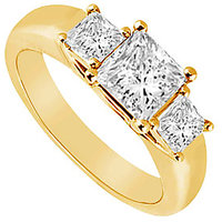 Elegant Three Stone Diamond Ring In 14K Yellow Gold