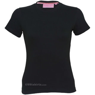 Women Black Round Neck Tshirt