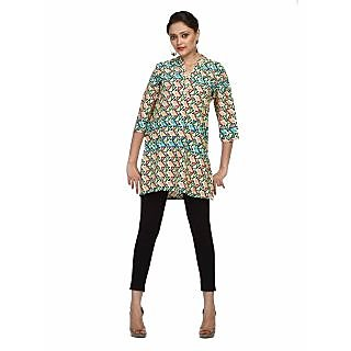 Atri Graceful Green Polyester 3/4Th Sleeves Top