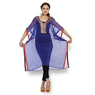 Atri Wonderful Blue Polyester Short Sleeves Top