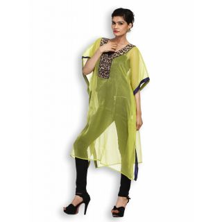Atri Delightful Green Polyester Short Sleeves Top
