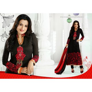 Amisha Patel In Black Party Wear Anarkali Churidar Suit 9845