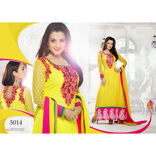 Ameesha Patel In Yellow And Red Anarkali Churidar Suit -9852