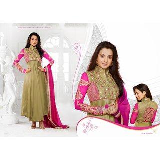 Amisha Patel Beige And Pink Georgette Anarkali Suits Designer Collection 9847