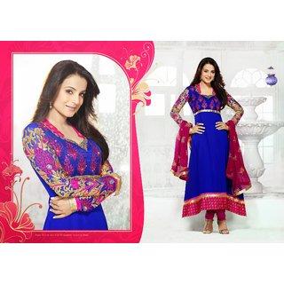 Online Amisha Patel Royal Blue And Pink Georgette Designer Anarkali Suit 9843