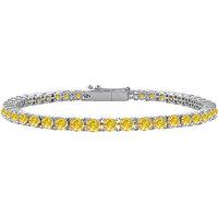 Lovely 14K White Gold Yellow Sapphire Prong-Set Tennis Bracelet