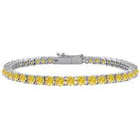 Radiant 14K White Gold Yellow Sapphire Prong-Set Tennis Bracelet