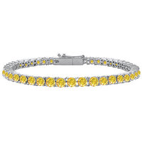 LoveBrightJewelry 14K White Gold Yellow Sapphire Prong-Set Tennis Bracelet