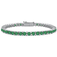 LoveBrightJewelry Lovely Frosted Emerald Tennis Bracelet In 14K White Gold