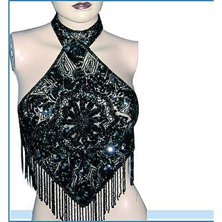 Anshul Fashion ! Beaded Dazzling Design Halter Necks Party Dress