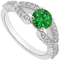 1 Carat Diamond And Natural Green Emerald Engagement Ring In 14K White Gold