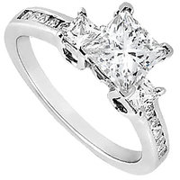 1 Carat Engagement Ring Of Cubic Zirconia In 14K White Gold - 3383235