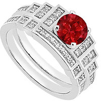 14K White Gold Natural Ruby Engagement Ring With Diamond Bands - 3383923