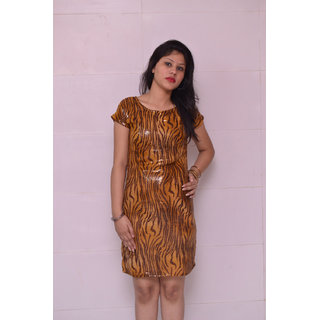 Trend-n-wow Sequin Dress Light Brown And Dark Brown  One Piece Dress With Sleeve