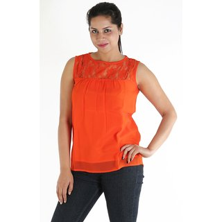 Urbane Woman Orange Lace Yoke With Uneven Gathered Top