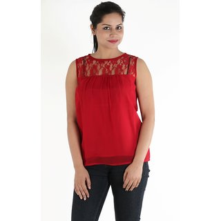 Urbane Woman Red Lace Yoke With Uneven Gathered Top