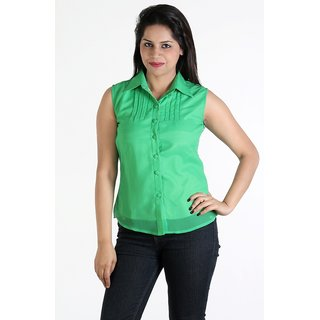 Urbane Woman Green Top With Pleats On Yoke &  Chinese Collar