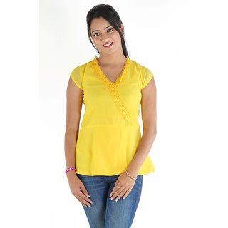Urbane Woman Yellow Top With Belt &  Frill Lace