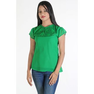 Urbane Woman Green Lace Yoke Top