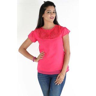 Urbane Woman Pink Lace Yoke Top
