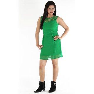 Urbane Woman Green Dress With Lace Yoke