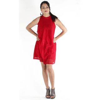 Urbane Woman Maroon Dress With Pleats In Front