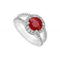 GF Bangkok Ruby And Cubic Zirconia Engagement Ring 10K White Gold 1.25 CT TGW