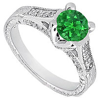 Frosted Emerald & Cubic Zirconia Engagement Ring 1.00 CT TGW Option 3