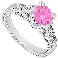 Pink Sapphire & Cubic Zirconia Engagement Ring 1.00 CT TGW Option 3