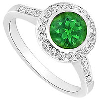 Frosted Emerald & Cubic Zirconia Engagement Ring 1.00 CT TGW Option 2