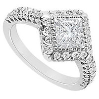 14K White Gold Semi Mount Engagement Ring With 0.50 Carat Diamonds