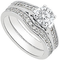 Diamond Engagement Ring With Diamond Wedding Band Sets In 14K White Gold