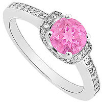 September Birthstone Pink Sapphire & CZ Engagement Ring In 14K White Gold