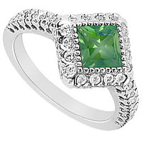 LoveBrightJewelry Square Emerald & CZ Halo Engagement Ring In 14K White Gold