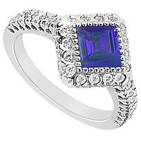 LoveBrightJewelry Square Sapphire & CZ Halo Engagement Ring In 14K White Gold