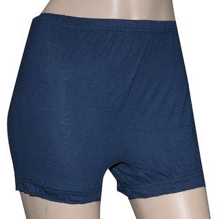 Poliss Navy Blue Plain Shorts