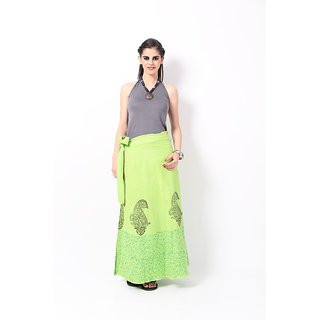 RangDesi Green Printed Cotton Long Skirt