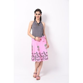 RangDesi Pink Printed Cotton Medium Skirt