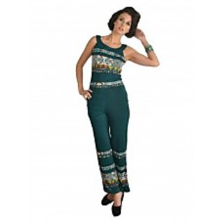 Green Tribal Print Long Jumpsuit