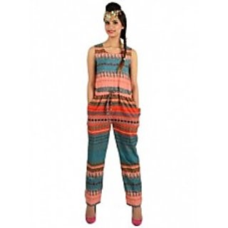 Pink Blue Printed Long Jumpsuit