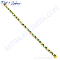 Gracious Fashion Green Cubic Zirconia & Cubic Zirconia Gemstone Silver Bracelet