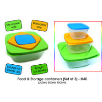 Food & Storage Containers (Set Of 3) & 2 Pcs Visiting Card Holder Free - 3552044