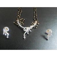 Elegant 23.5 Ct Gold & Rhodiium Plated American Diamond Mangalsutra With Earring