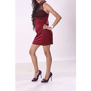 Polyester Halter Neck Dress Maroon