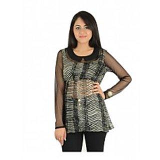 Black Printed Georgette Fullsleves Top [CLONE]