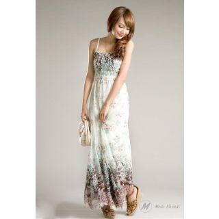 Modo Vivendi | Long Maxi Dress With Strip Shoulder For Summer | Chiffon Maxi