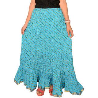 Rangsthali: Indian Designer Cotton Blue Lehria Lehriya Long Skirt