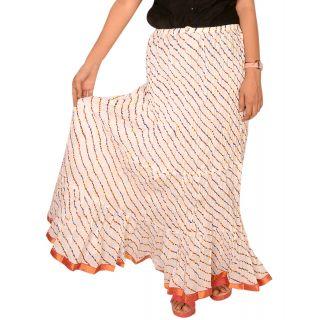 Rangsthali: Indian Designer Cotton White Lehria  Lehriya Long Skirt
