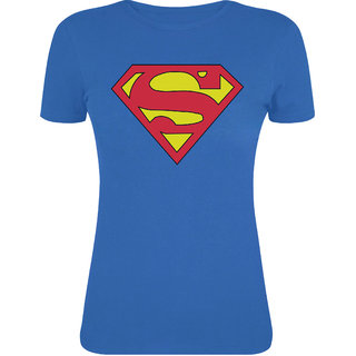 Asia Edge Girls Round Neck Royal Blue Printed T-Shirt-Real Superman